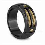 EM Sport Black Titanium Ring with 14K Gold Cables and Gold Rivets
