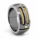 EM Sport Gray Titanium Ring with 14K Gold Cables and Gold Rivets