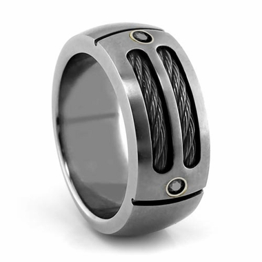 EM Sport Gray Titanium Ring with Black Cables and Black Spinels