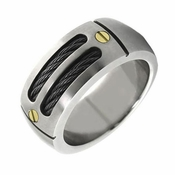 EM Sport Gray Titanium Ring with Black Cables and Gold Rivets