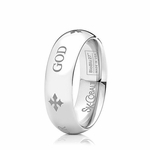 Scott Kay Code 7mm Dome Cobalt Ring with GOD engraving