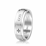 Scott Kay Code 7mm Flat Cobalt Ring with GOD engraving