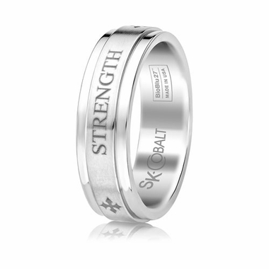 Scott Kay Code 7mm Flat Cobalt Ring with STRENGTH engraving