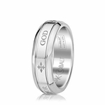 Scott Kay Code 7mm Round Cobalt Ring with GOD engraving