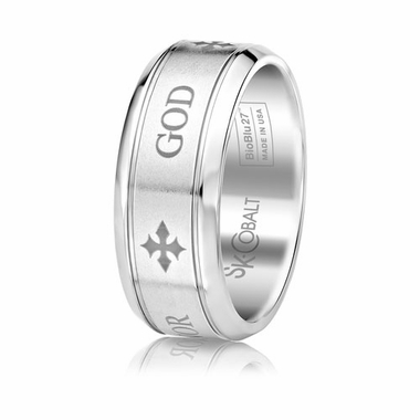 Scott Kay Code 9mm Round Cobalt Band with GOD engraving