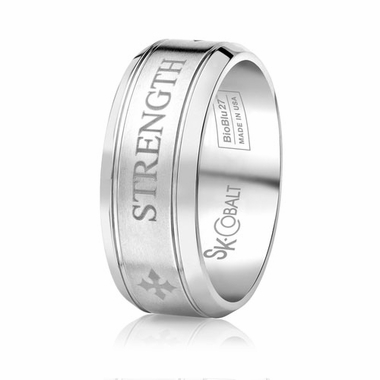 Scott Kay Code 9mm Round Cobalt Band with STRENGTH engraving