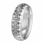 Scott Kay Devout 7mm Cobalt Band with Laser Engraved Crosses