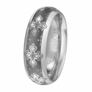Scott Kay Devout 7mm Cobalt Ring with Laser Engraved Crosses
