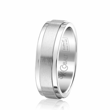 Scott Kay Prime 7mm Flat Profile Dual Finish Cobalt Wedding Band