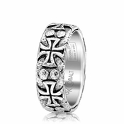 Scott Kay Troy Hammered Crosses Cobalt Ring