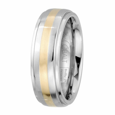 Scott Kay Unity 14K Yellow Gold and Cobalt Wedding Band with Stepped Edges