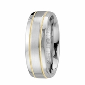 Scott Kay Unity 7mm 14 Yellow Gold and Cobalt Milgrain Wedding Band