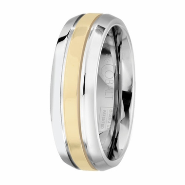 Scott Kay Unity 7mm 14 Yellow Gold and Cobalt Wedding Band