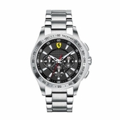 Scuderia Ferarri Stainless Steel Chronograph Watch with Red Accents