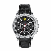 Scuderia Ferrari Black and Silver Chronograph Watch with Leather Strap
