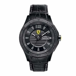 Scuderia Ferrari Black IP Stainless Steel Watch with Leather Strap