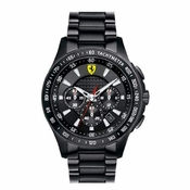 Scuderia Ferrari Black IP Stainless Steel Watch with White Accents
