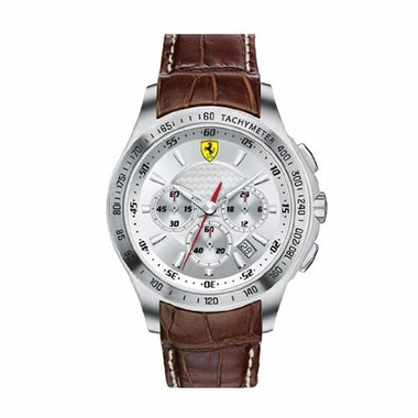 Scuderia Ferrari Gents Chronograph Watch with Brown Leather Strap