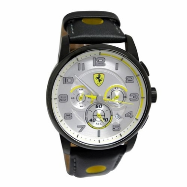 Scuderia Ferrari Heritage Black and Silver Watch with Yellow Accents