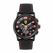 Scuderia Ferrari Heritage Black Chronograph Watch with Red Accents