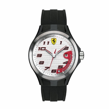 Scuderia Ferrari Lap Time Black and White Watch with Red Accents