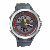 Scuderia Ferrari Lap Time Gray Watch with Analog-Digital Display