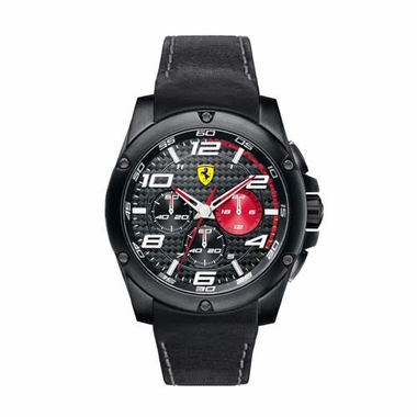 Scuderia Ferrari Paddock Black and Red Watch with Leather Strap