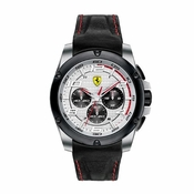 Scuderia Ferrari Paddock Black and White Watch with Red Accents
