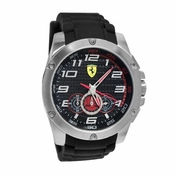 Scuderia Ferrari Paddock Stainless Steel Watch with Red Accents