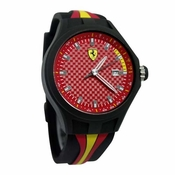 Scuderia Ferrari Pit Crew Black and Red Watch with Multicolored Strap