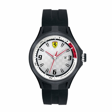 Scuderia Ferrari Pit Crew Black and White Watch with Red Accents