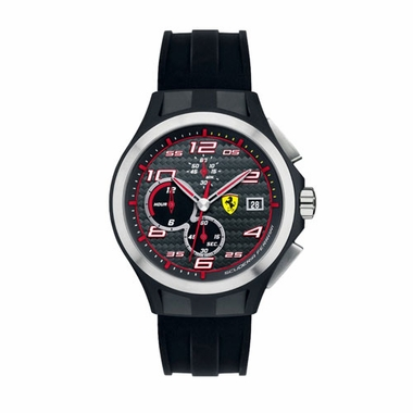 Scuderia Ferrari Pit Crew Black Chronograph Watch with Red Accents