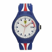 Scuderia Ferrari Pit Crew Blue and White Watch with Multicolored Strap