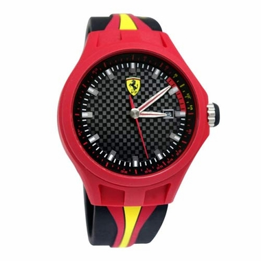 Scuderia Ferrari Pit Crew Red and Black Watch with Yellow Accents