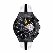 Scuderia Ferrari Race Day Black and White Watch with Black Stripe