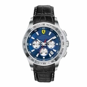 Scuderia Ferrari Stainless Steel Chronograph Watch with Blue Dial