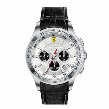 Scuderia Ferrari Stainless Steel Watch with Leather Straps