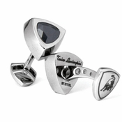 Tonino Lamborghini Black Scudo Collection Stainless Steel Cufflinks