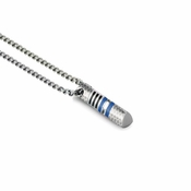 Tonino Lamborghini Blue Corsa Pendant with Stainless Steel Rolo Chain