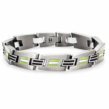 Tonino Lamborghini Green Corsa Collection Stainless Steel Men's Bracelet