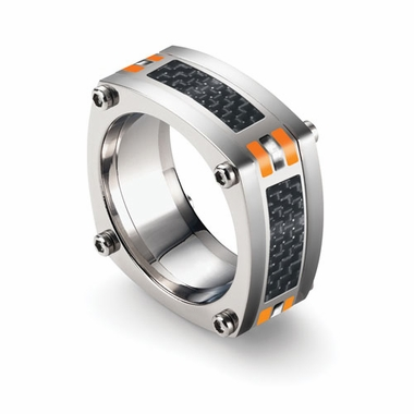 Tonino Lamborghini Orange Corsa Collection Stainless Steel Ring