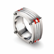 Tonino Lamborghini Red Corsa Collection Stainless Steel Ring