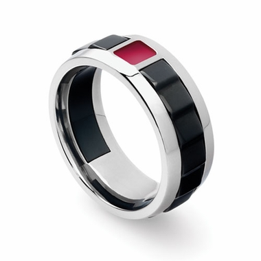 Tonino Lamborghini Red IL Primo Stainless Steel Ring