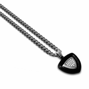 Tonino Lamborghini Spyder Collection Black Shield Pendant with Clear Stones