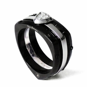 Tonino Lamborghini Spyder Collection Black Stainless Steel Ring