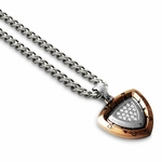 Tonino Lamborghini Spyder Collection Copper-Toned Shield Pendant with Clear Stones