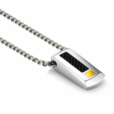 Tonino Lamborghini Yellow IL Primo Pendant with Stainless Steel Rolo Chain