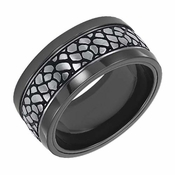 Triton 10mm Black Titanium Ring with Faux Nugget Center