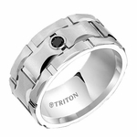 Triton 10mm Dual Finish White Tungsten Carbide Black Diamond Ring