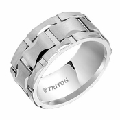 Triton 10mm Finish White Tungsten Carbide Ring with Cuts